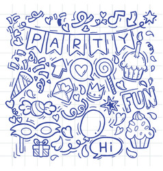 Hand drawn party doodle happy birthday ornaments vector