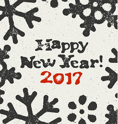 Happy New Year 2017 Postcard Grunge Design On vector image
