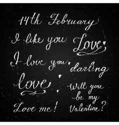 Happy Valentines Day labels on a chalkboard vector image