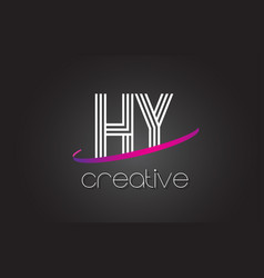 hy h y letter logo with lines design and purple vector image