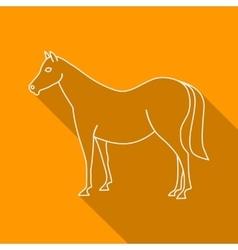 Icon Contour horse Flat style long shadows vector