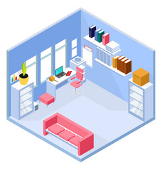 Isometric home office interior vector