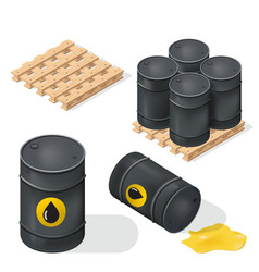 isometric oil barrels vector image
