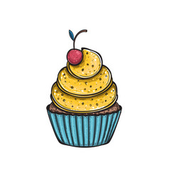 Lemon cupcake with cherry vector