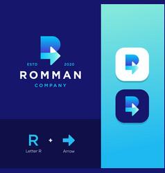 Letter r arrow business logo template vector