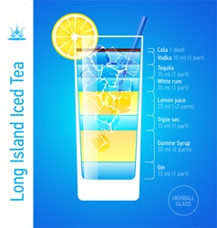 Long Island Iced Tea cocktail vector image