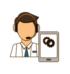 Man headphone with smartphone services icon vector