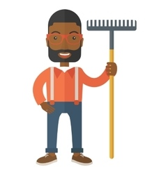 Man with a mustache holding a rake vector