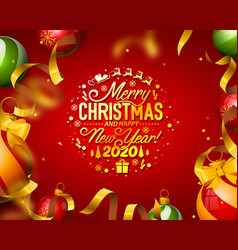 merry christmas tree tape design banner postcard vector image