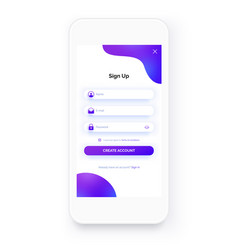 mobile ui kit sign up form registration screen vector image