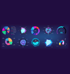modern pie chart and circle infographic collection vector image
