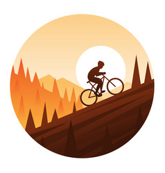Mountain bike climbing round icon vector