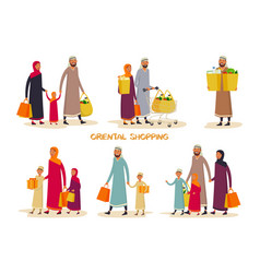 muslim families at shopping vector image