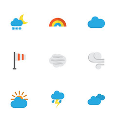 Nature flat icons set collection of windy storm vector