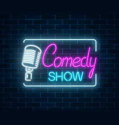 Neon sign of comedy show with retro microphone vector