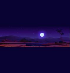 Night desert oasis under full moon starry sky vector