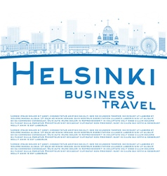 Outline Helsinki skyline and copy space vector image