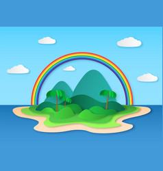 paper tropic island sea tropical scenery vector image