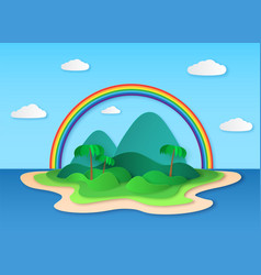 paper tropic island sea tropical scenery with vector image