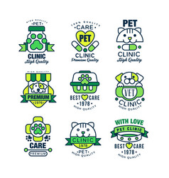 pet clinic logo set high quality best care 1978 vector image