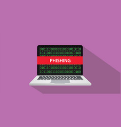 phishing concept with laptop comuputer and text vector image