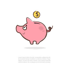 piggy bank and coins vector image