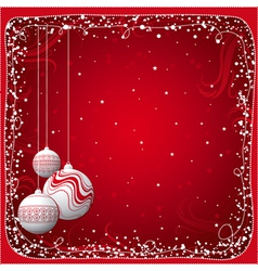 red christmas card with balls vector image