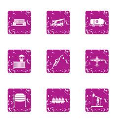 refueling icons set grunge style vector image