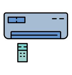 Remote control conditioner icon color outline vector
