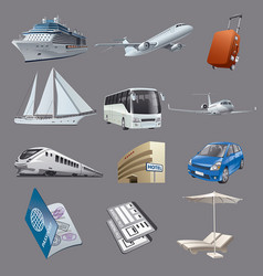 set images for traveling and resort vector image