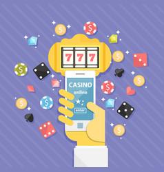 Set of casino online elements flat vector