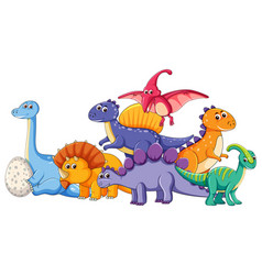 set of different dinosaur character vector image