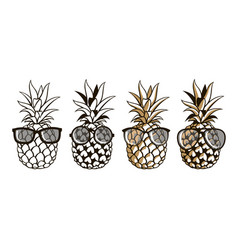Set of pineapple with glasses vector