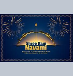 Shree ram navami hindu festival card background vector