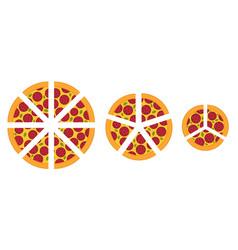 Slices pizza different sizes diagram vector