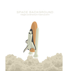 space ship taking off isolated vector image