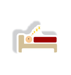 Stylish icon in paper sticker style man sleeps vector