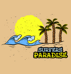 Surfing surf themed hand drawn traditional old vector