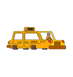 taxi isolated style outline yellow car vector image