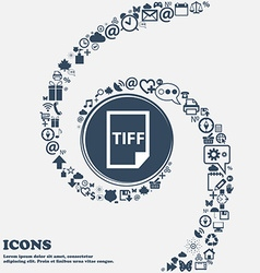 TIFF Icon in the center Around the many beautiful vector image
