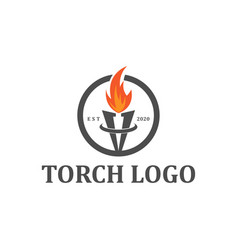 Torch logo fire element badge classic style vector