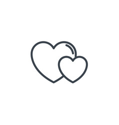 two love hearts icon line design vector image