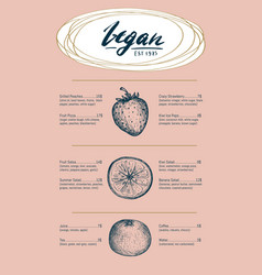 Vegetarian restaurant menu hand drawn design vector
