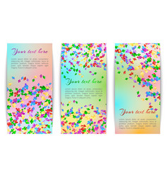 Vertical banners with confetti vector