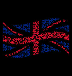 Waving great britain flag pattern of right arrow vector