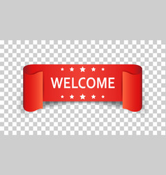 Welcome ribbon icon hello sticker label on vector