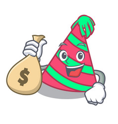 With money bag party hat character cartoon vector