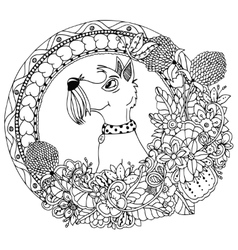 Zentangl dog in a circular vector
