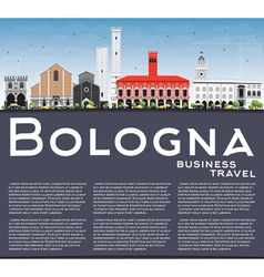 Bologna Skyline with Landmarks Blue Sky vector image