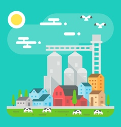 Colorful farm landscape scene in flat design vector image